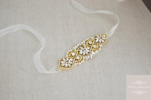 """LUELLA"" Gold Crystal and Pearl Wedding Dress Sash"