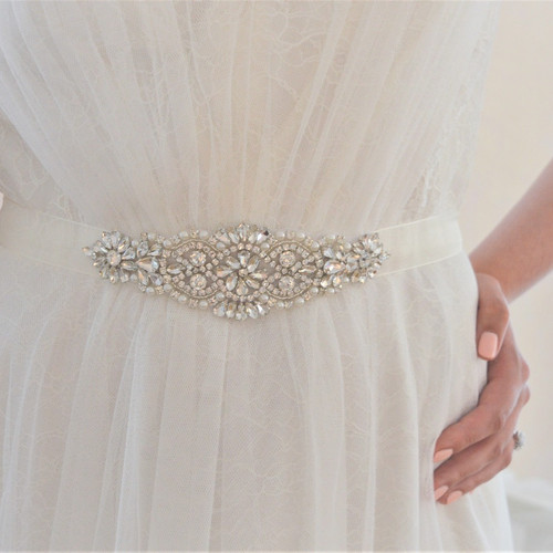 Nellie Crystal And Ivory Pearl Bridal Belt Wedding Dress Sash