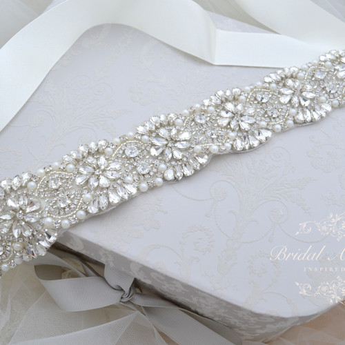Adele Vintage Inspired Crystal Bridal Belt Sash