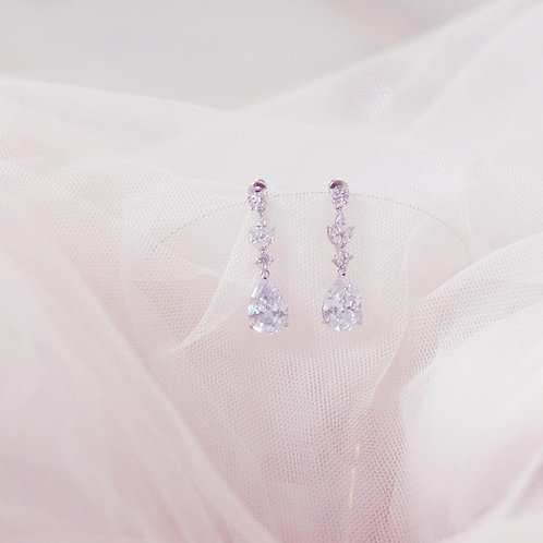 ISABELLE  Cubic Zirconia Silver Bridal Earrings