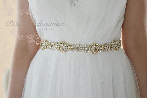ESTELLE GOLD Crystal Bridal Sash/Belt