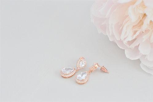 LOTTIE Rose Gold Cubic Zirconia Bridal Earrings.