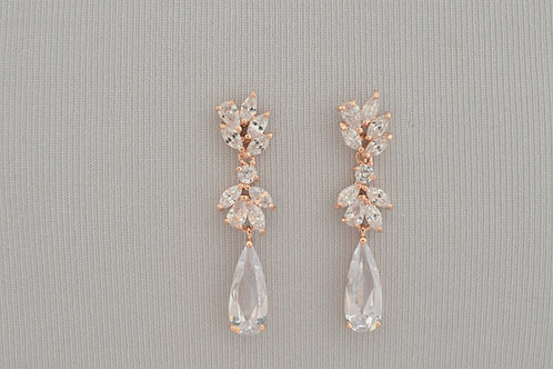 ANNABELLE Rose Gold Cubic Zirconia Bridal Earrings