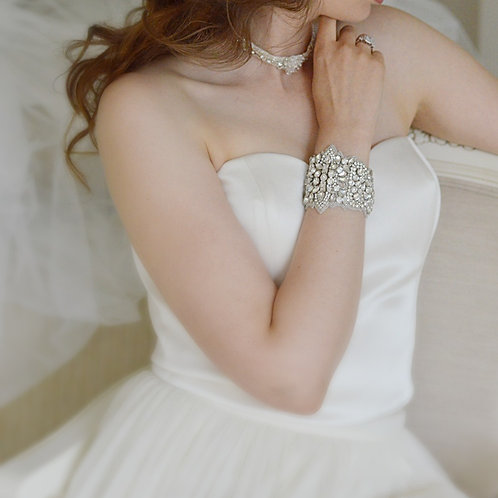 VERITY Vintage Inspired Crystal Bridal Cuff/Bracelet
