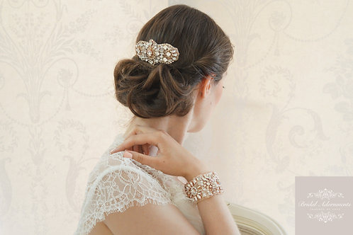 ADELAIDE Rose Gold Crystal Bridal Hair comb