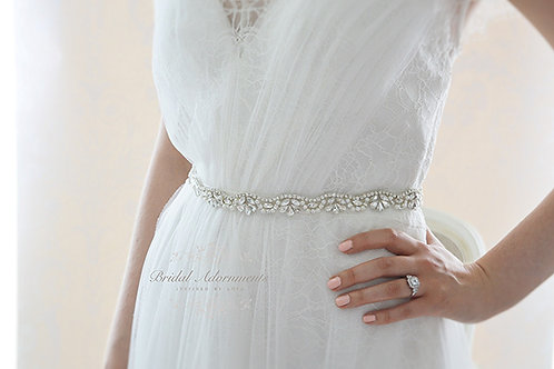 CHLOE Slim Crystal and Pearl Wedding Dress Belt