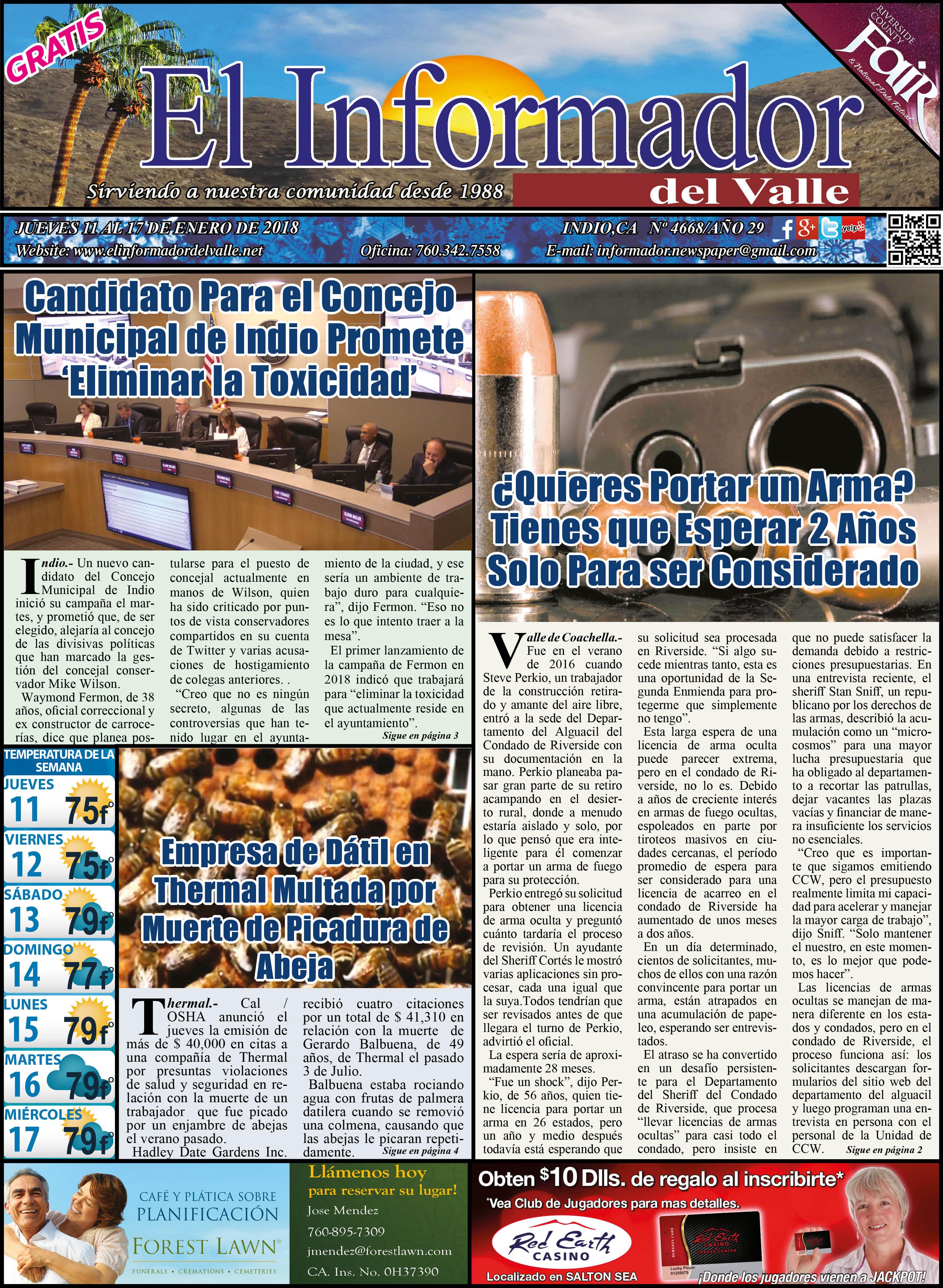 EL INFORMADOR DEL VALLE 01-11-2018