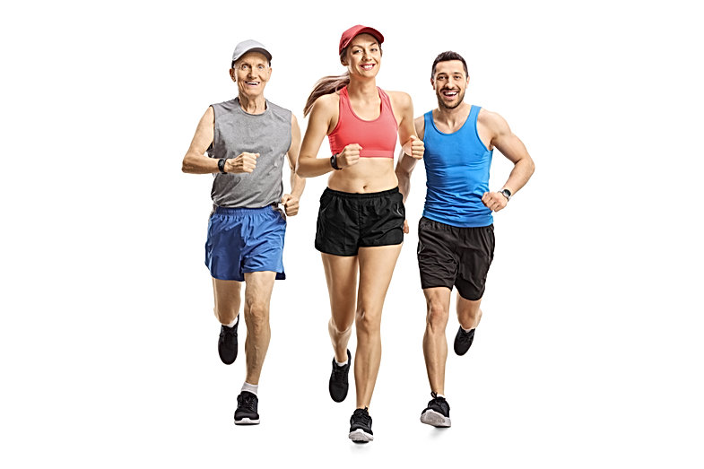Full length portrait of people running a