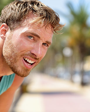 Sweating fitness man tired exausted of r