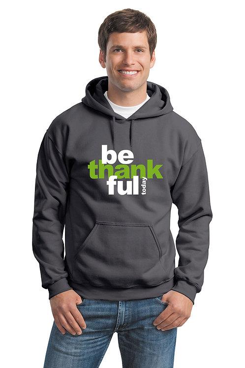 be thankful hoodie - charcoal w/green