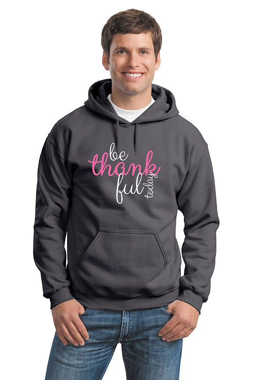 be thankful script hoodie - charcoal w/pink