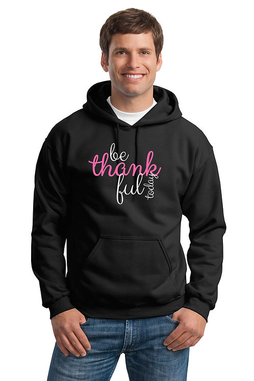 be thankful script hoodie - black w/pink