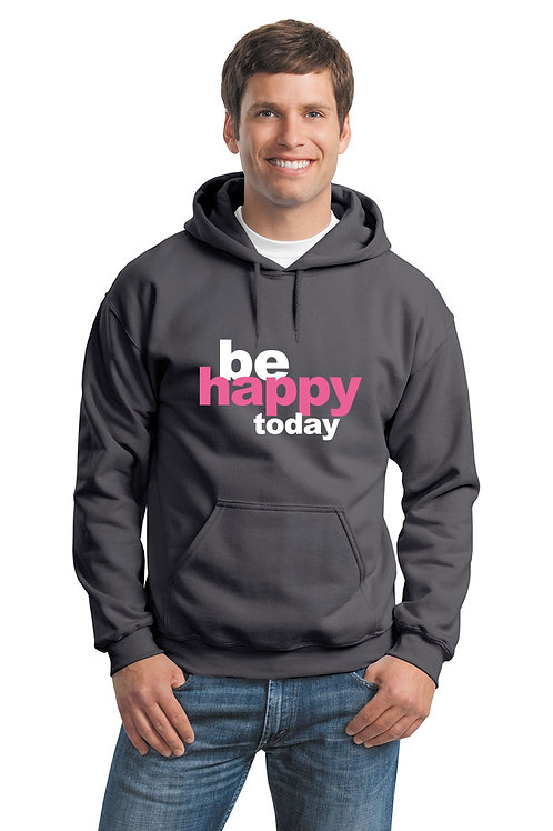 be happy hoodie - charcoal w/pink