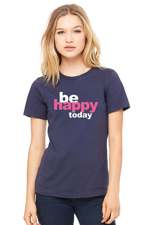 be happy - navy w/pink