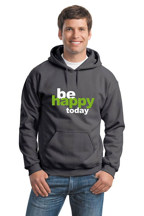 be happy hoodie - charcoal w/green