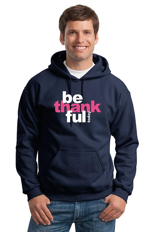 be thankful hoodie - navy w/pink