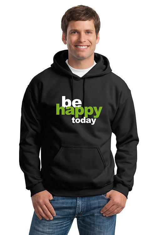 be happy hoodie - black w/green