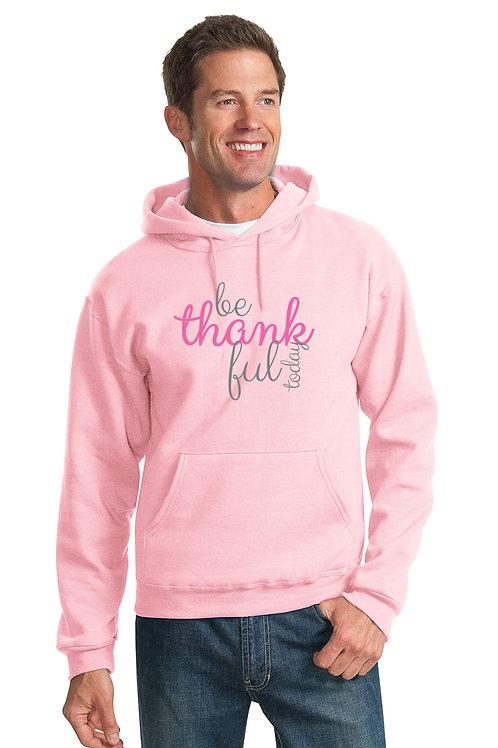 be thankful script hoodie - pink