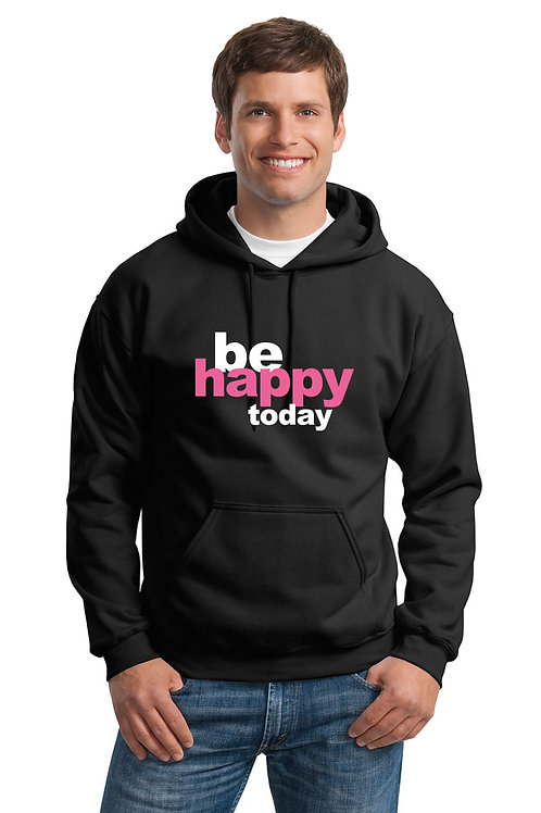 be happy hoodie - black w/pink