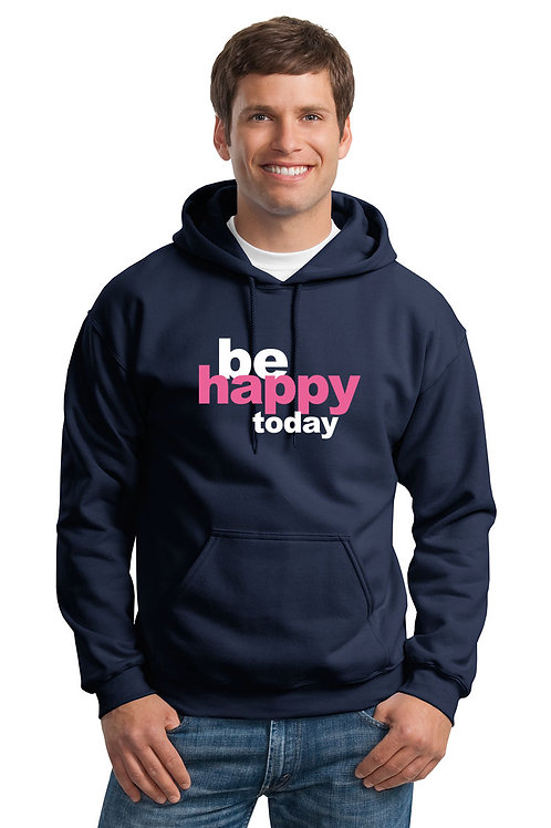 be happy hoodie - navy w/pink