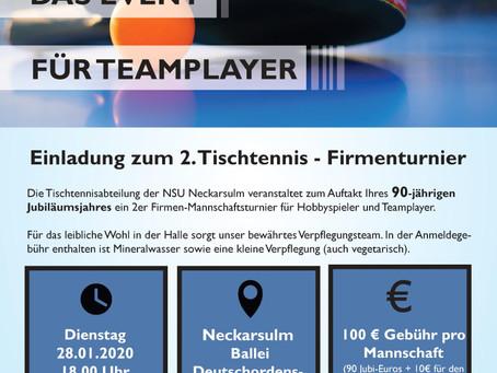 Einladung zum 2. Tischtennis Firmenturnier