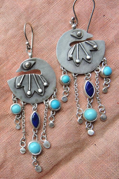 Proudly Plumed Peacock Earrings