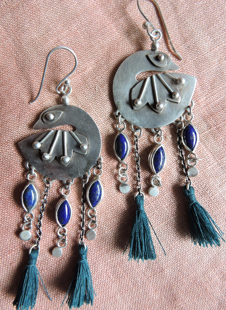 Proudly Plumed Peacock Earrings with Lapis Lazuli Tail Feathers
