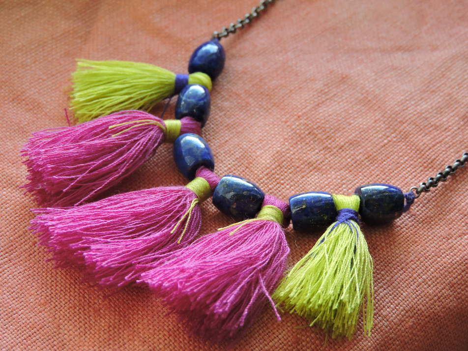 Lapis Lazuli + Tassel Statement Necklace