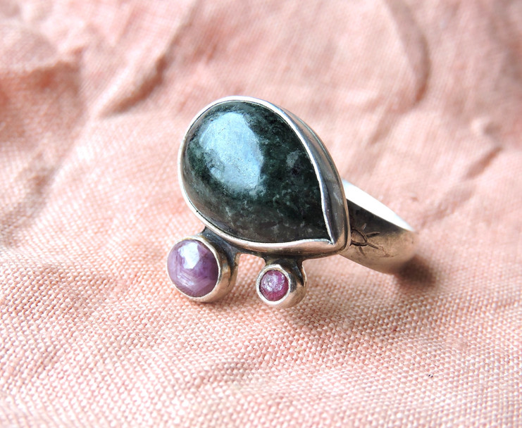 Jade, Star Sapphire + Pink Tourmaline, Sterling Silver Men's Ring