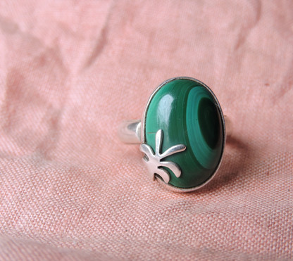 Malachite + Sterling Silver Palm Ring