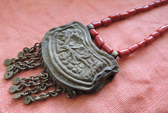 Antique Indian Gypsy Amulet with Coral