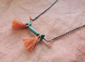 Turquoise + Tassles with Sterling Silver Chain