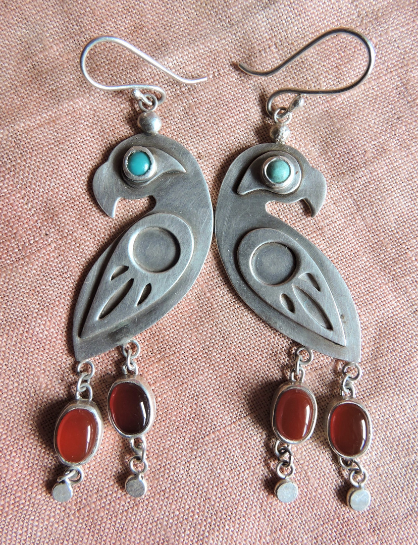 El Papagayo Earring with Turquoise + Carnelian Tail Feathers
