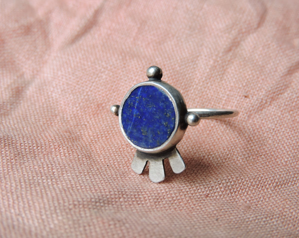 Lapis Lazuli + Sterling Silver Codex Ring