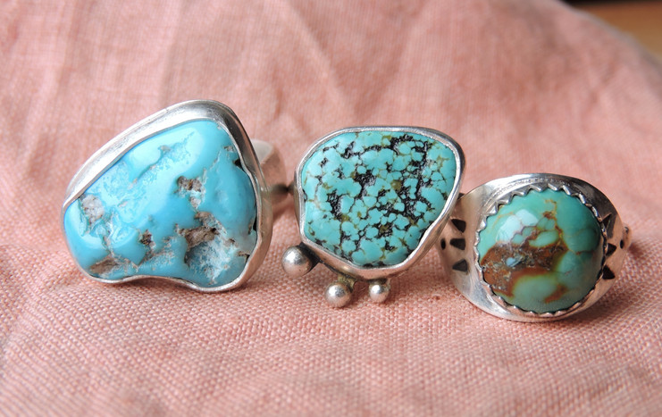 Natural Turquoise & Sterling Silver Men's + Women's Rings