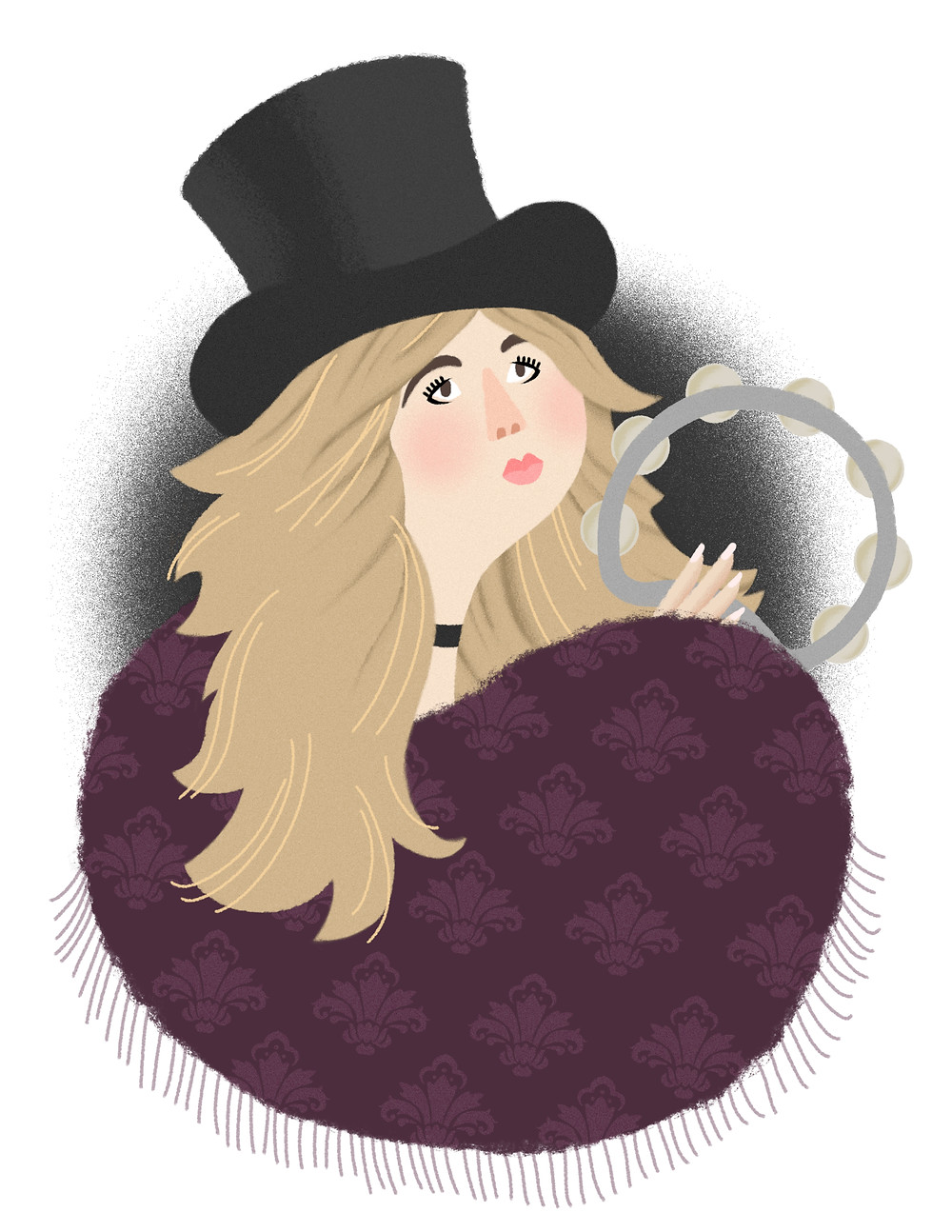 Portrait of Stevie Nicks wearing a black top hat, black choker necklace, wine-colored damask print fringe cape. She holds a tambourine and has long blonde hair.