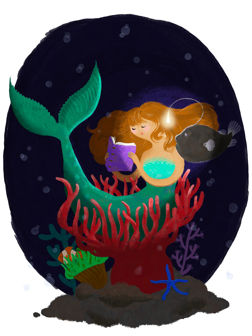 Auburn-haired mermaid sitting in a nest of red anemone tentacles is reading from a purple-covered book with the light of an angler fish over her shoulder. Her tail is turquoise and there is a clown fish and blue starfish beneath them. The background is dark blue and brightens at the center.