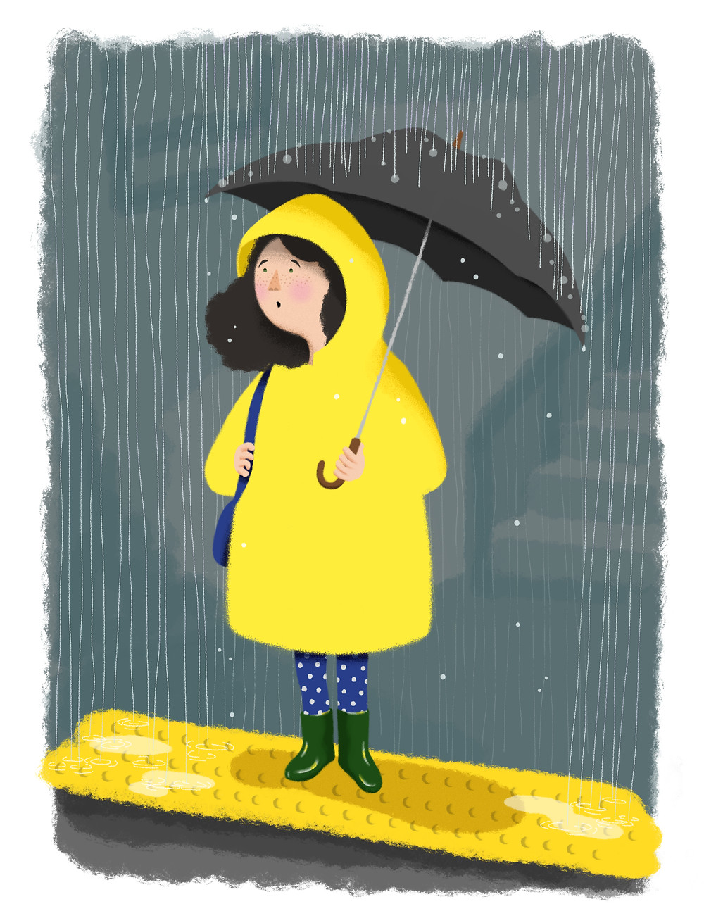 Girl wearing yellow raincoat, blue and white polka-dotted tights, green galoshes, and holding grey umbrella standing on a subway platform while rain pours down on and around her.