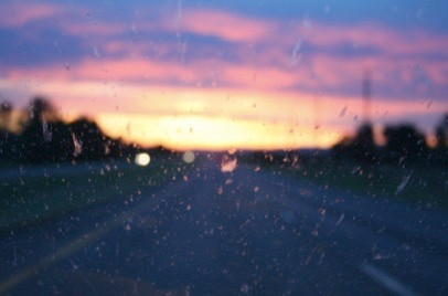 Sunset through a windshield