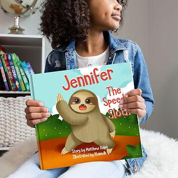 Jennifer the speedy sloth mockup square.