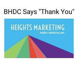 BHDC Thanks Heights Marketing for their Generous Donation