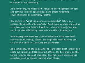 BHDC Statement on Hate Acts in Berkeley Heights