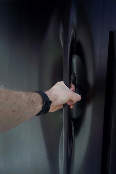 Door handle for Equipment Closet of Security Booth