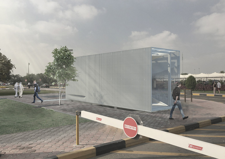 Rendered View of Security Booth from Entry Gate