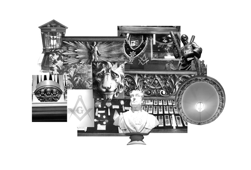Collage of some of the building's symbols