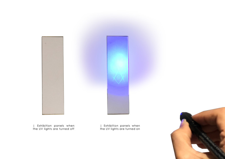 Exhibition panel's concept model ( showing the invisible ink)