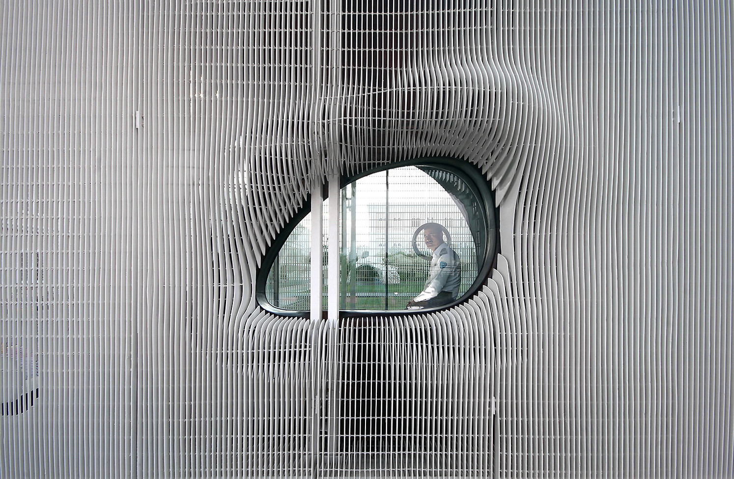 View of security guard through the oculus window