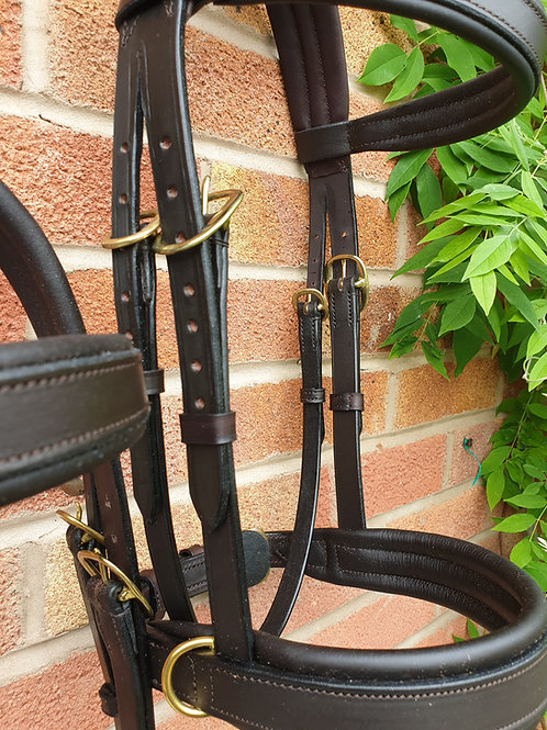 Leather full size side cue, havana, brass buckles