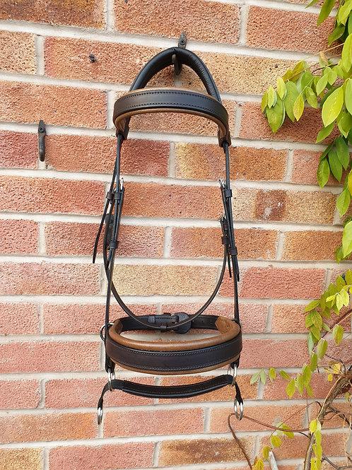 Leather double bridle extra full size havana/antique