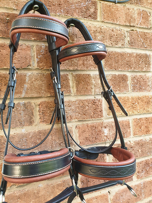 Black and conker cob double bridle fancy stitched